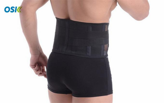 Black Waist Support Brace With Hook - Loop Fastener For Easy / Quick Fastening